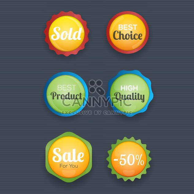 vector illustration of round shaped shopping labels collection - Free vector #130761