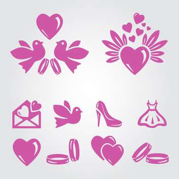 vector illustration set of pink wedding icons on grey background - vector gratuit #130801
