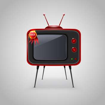 vector illustration of retro tv on grey background - vector gratuit #130831