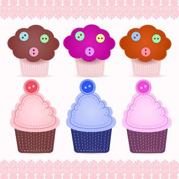 Set of cute cupcakes vector illustration - Free vector #130931