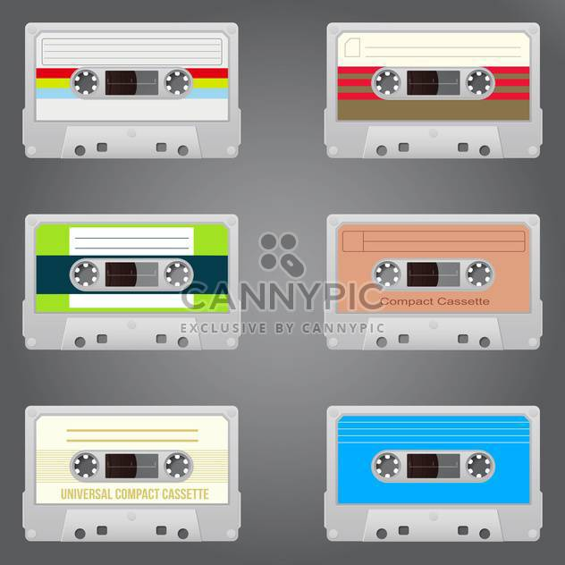 Audio tape set of six vintage records - Free vector #130951