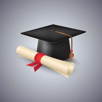 Graduation cap and diploma vector illustration - Kostenloses vector #130971