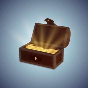 a chest of gold coins vector illustration - vector #130981 gratis