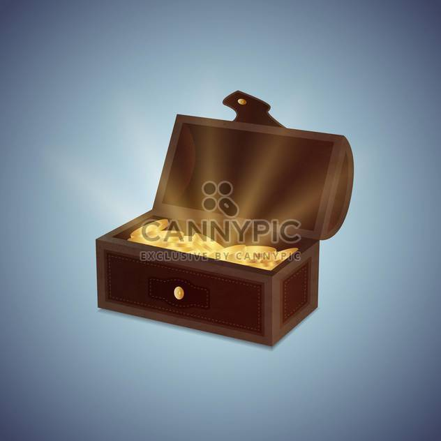 a chest of gold coins vector illustration - Free vector #130981