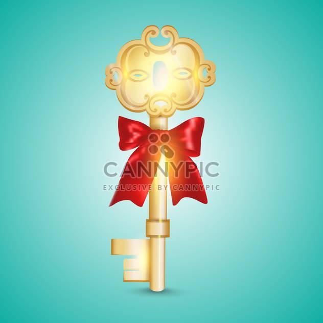 Goldener Schlüssel Vektor-Illustration auf blauem Hintergrund - Kostenloses vector #131101