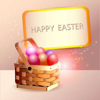 Easter eggs in basket with spring decoration - бесплатный vector #131111