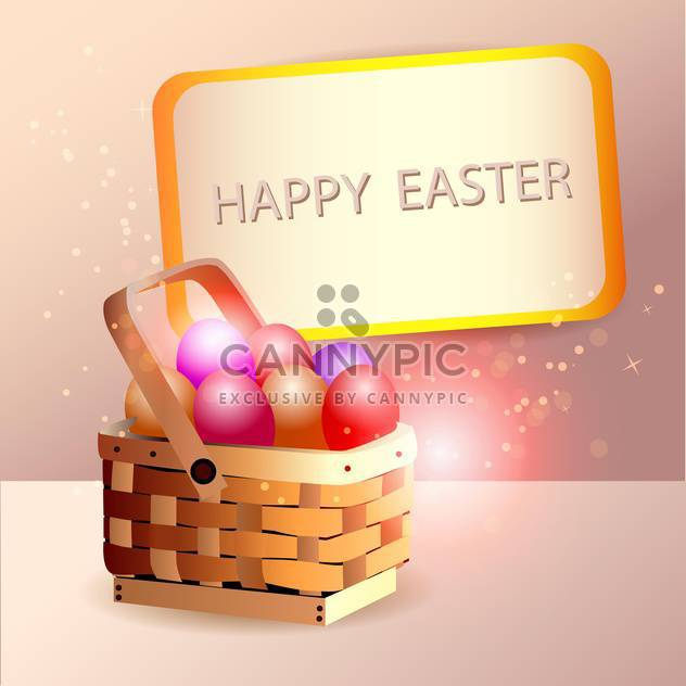 Easter eggs in basket with spring decoration - Free vector #131111