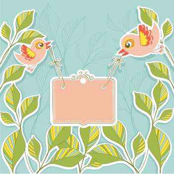 Vector birds holding banner on floral background - vector gratuit(e) #131171