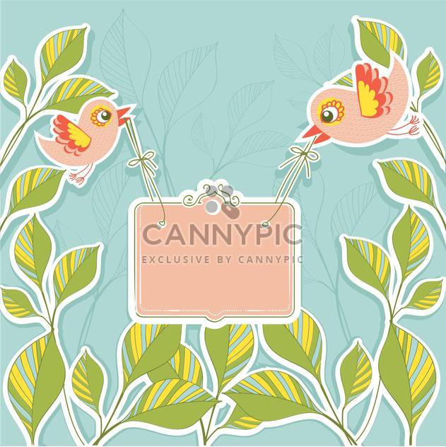 Vector birds holding banner on floral background - Free vector #131171