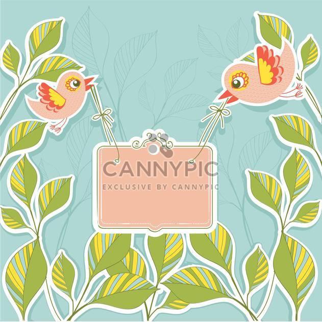 Vektor Vögel halten Banner auf Blumen Hintergrund - Kostenloses vector #131171