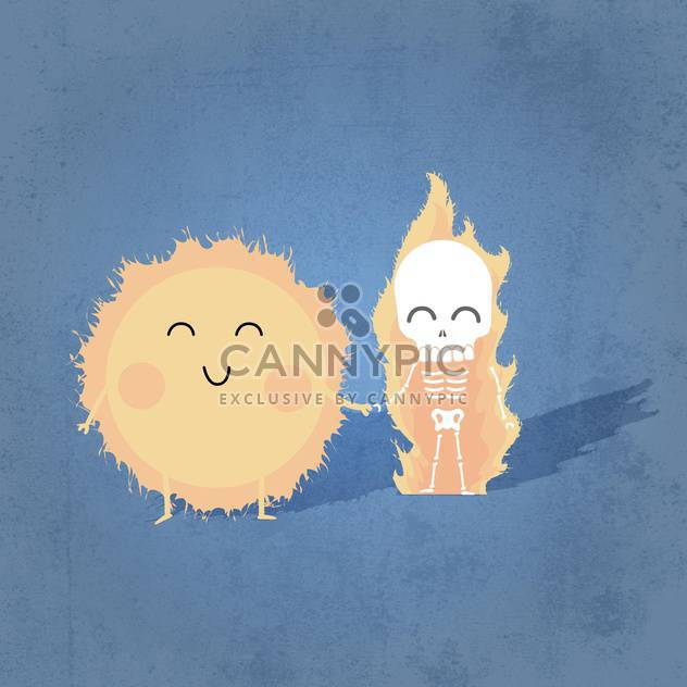 Vector illustration of cute sun with human skeleton holding hands - Free vector #131221