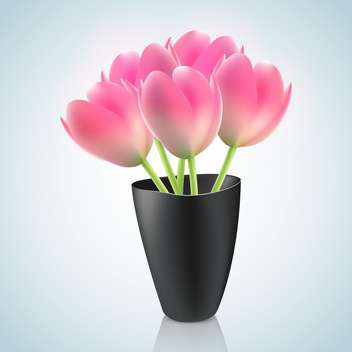 Pink tulips in vase illustration on light blue background - Free vector #131301