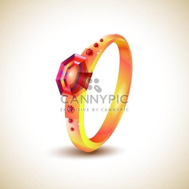 Goldener Ring mit roten Juwelen auf hellem Hintergrund - Kostenloses vector #131311