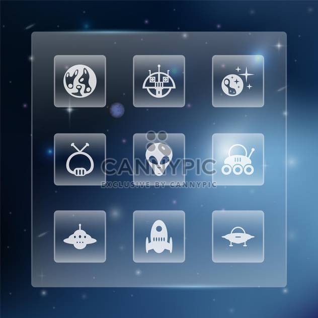 Space web buttons set vector illustration - Free vector #131321