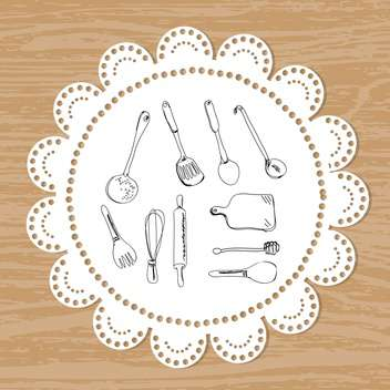 Cultery set of vector sketches on a lace doily background - vector gratuit #131351