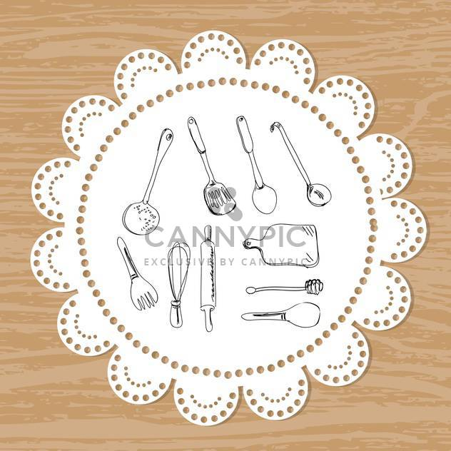Cultery set of vector sketches on a lace doily background - Free vector #131351