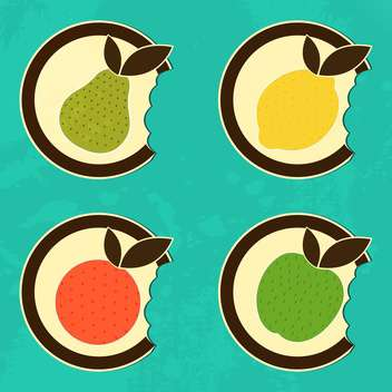 Bitten fruits set icons vector illustration - Free vector #131391