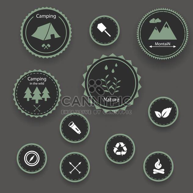 Set of camping icons on grey background - Free vector #131471