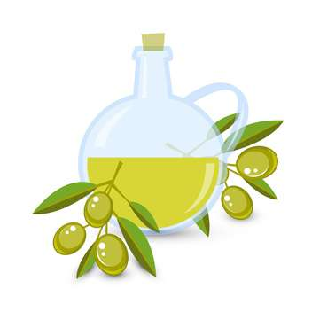 Olive oil with olives on white background - Kostenloses vector #131481
