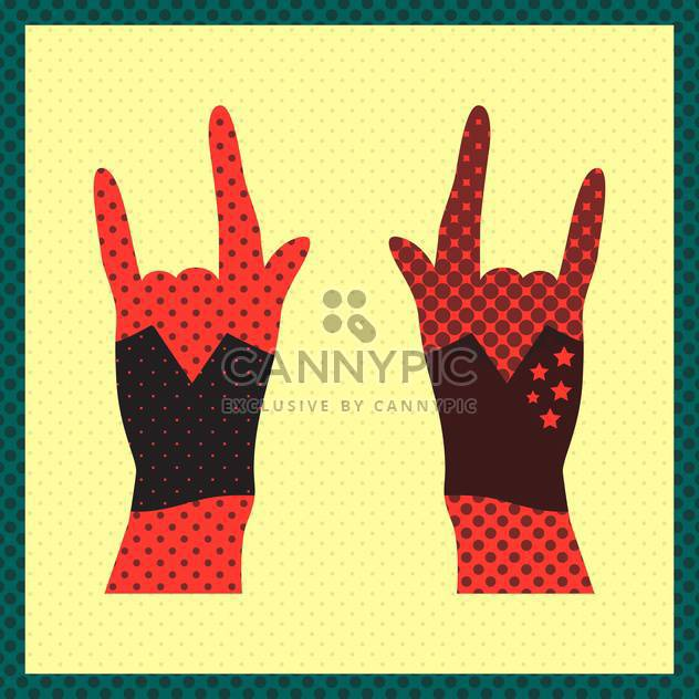 Hands up showing rock sign grunge illustration - Free vector #131491