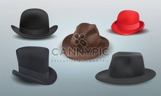 Vector set of different hats on grey background - Free vector #131711
