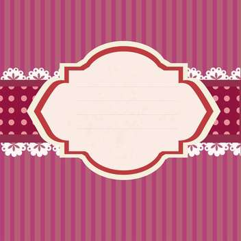 Empty retro tag on pink striped background - vector gratuit #131741