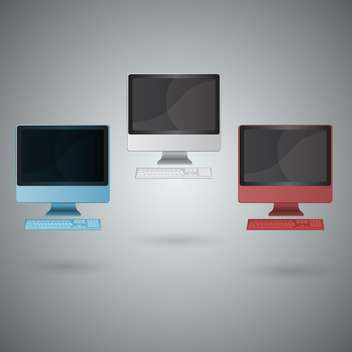 Vector set of modern computer monitors - Free vector #131791