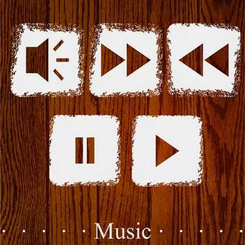 Vector set of media player icons on wooden background - Kostenloses vector #131811