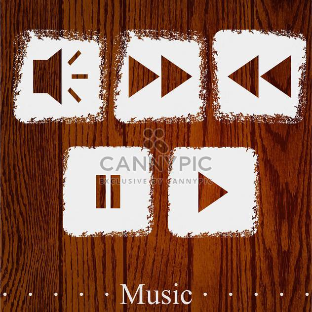 Vector set of media player icons on wooden background - Free vector #131811