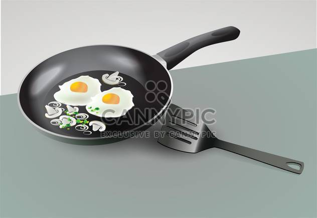Vector scrambled eggs in skillet standing on the table - Free vector #131821