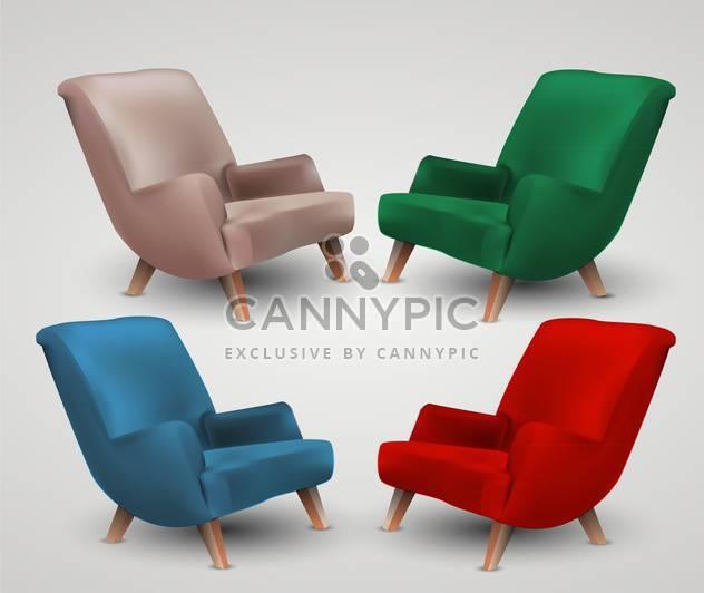 Satz von vier farbigen Sessel auf weißem Hintergrund - Free vector #132031
