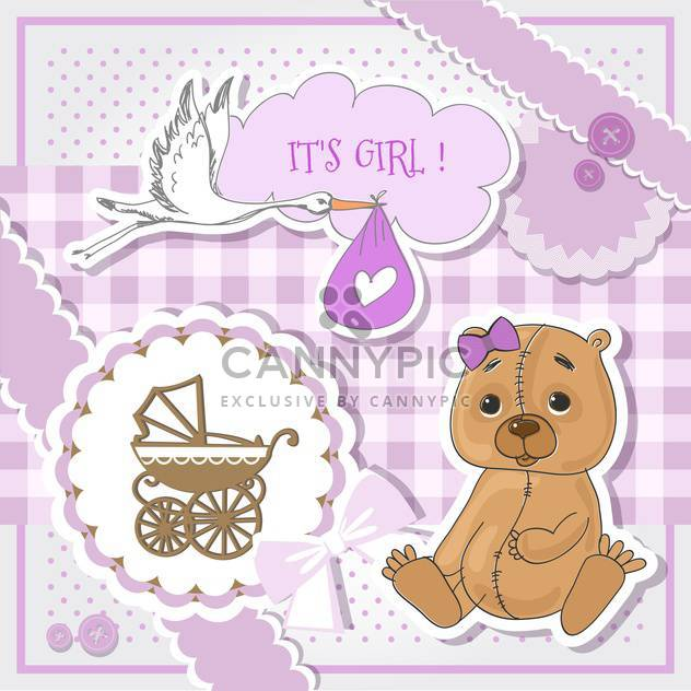 Baby shower purple invitation card - Free vector #132151