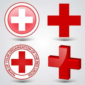 First aid medical button signs on gray background - Free vector #132171