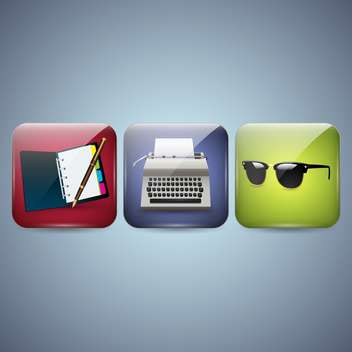 Vector business icons with notebook,typewriter and sunglasses on blue background - vector #132261 gratis