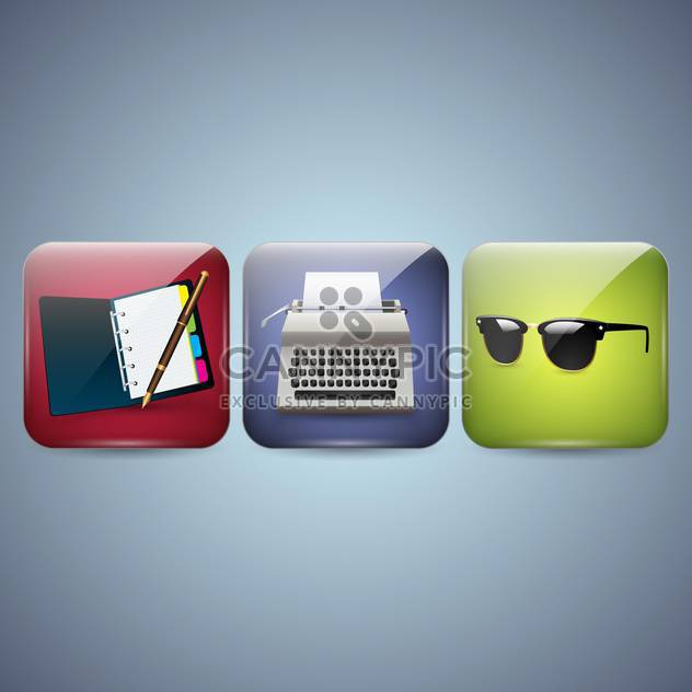 Vector business icons with notebook,typewriter and sunglasses on blue background - Free vector #132261