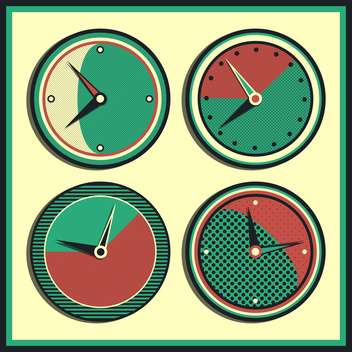 Vector vintage clocks showing different time,vector illustration - vector gratuit #132301