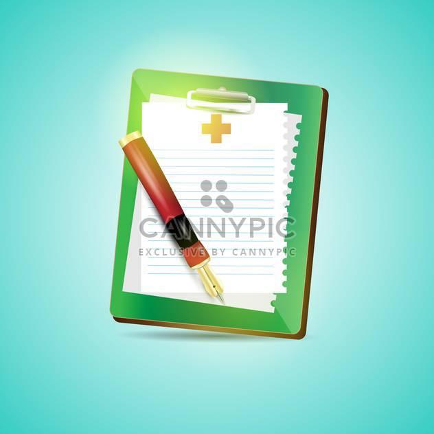 Zwischenablage leeren Blatt Papier und Füllhalter auf blauem Hintergrund - Kostenloses vector #132381