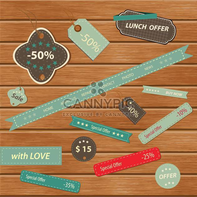 Vintage colorful frames on wooden background - Free vector #132451