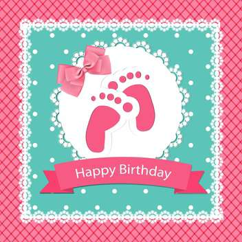 happy birthday baby arrival card - vector gratuit #132511