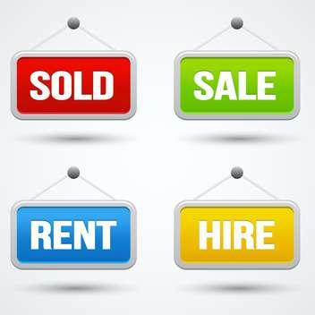 sale, sold, hire and rent icons signs - Free vector #132621