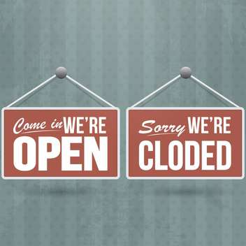retro open and closed door signs - Kostenloses vector #132631