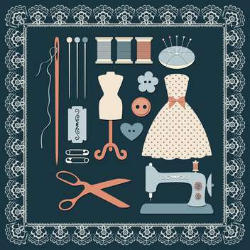 sewing craft icons set - vector gratuit #132641