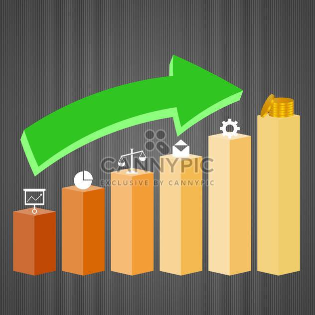 3d business graph with growth arrow - Free vector #132681