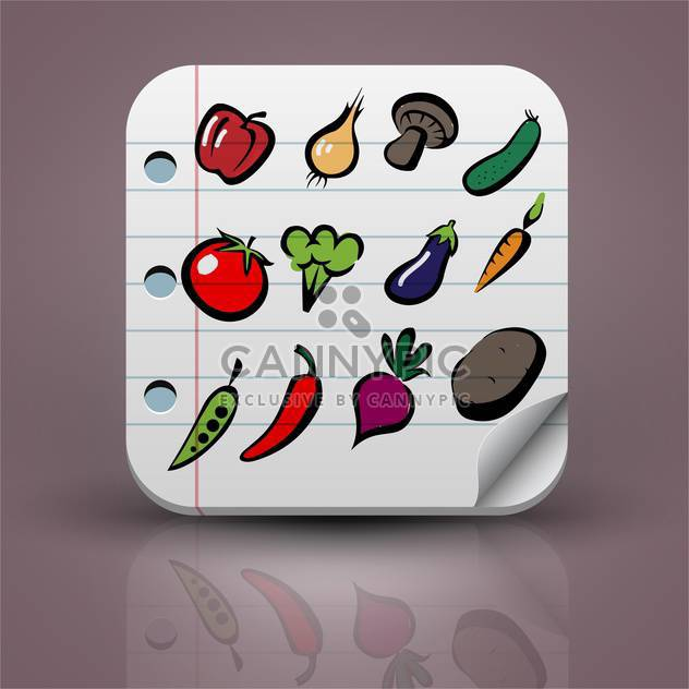 set of vector vegetables icons - Free vector #132731