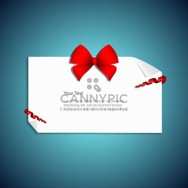 present card with red gift bow - Free vector #132791
