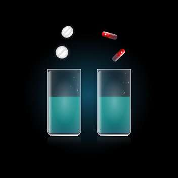 medical pills in glass with water - vector gratuit #132901