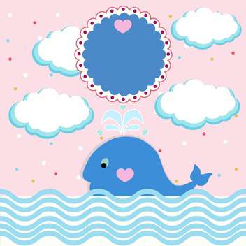 summer card with little whale - vector gratuit #133441