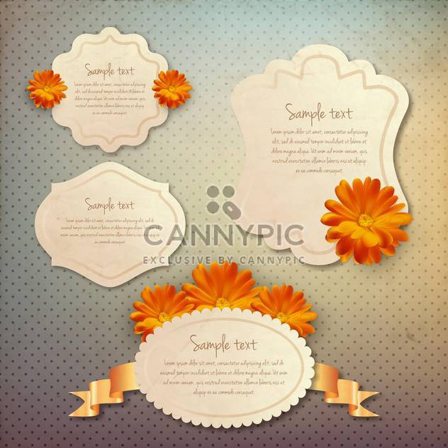 vintage frames set with flowers - Free vector #133681