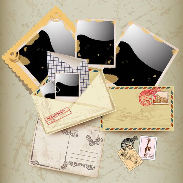 envelope, stamp and photo frames - vector #133761 gratis