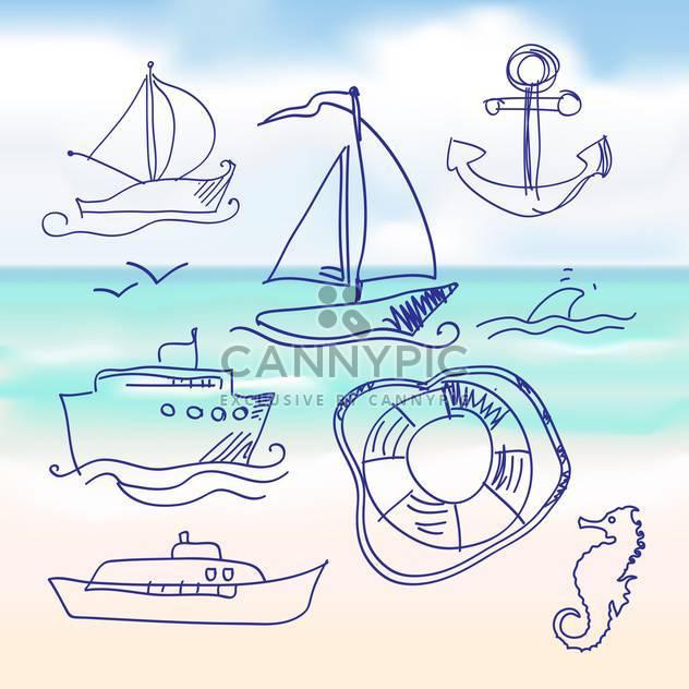 sea and hand-drawn boat set - Free vector #133981
